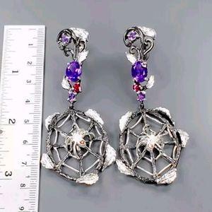 Amethyst & garnet .925 Sterling spider earrings